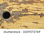 old wooden board painted yellow ... | Shutterstock . vector #1029372769
