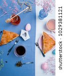 apple turnovers served with tea ...   Shutterstock . vector #1029381121