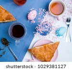 apple turnovers served with tea ...   Shutterstock . vector #1029381127
