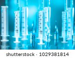 many syringes. medicine.... | Shutterstock . vector #1029381814