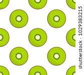 green slices of kiwi fruit... | Shutterstock .eps vector #1029383215