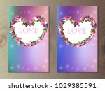 valentines day heart with... | Shutterstock .eps vector #1029385591