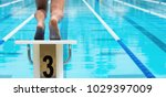 the swimmer jumps from the...   Shutterstock . vector #1029397009