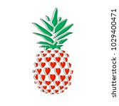 pineapple in hearts. line icon... | Shutterstock .eps vector #1029400471