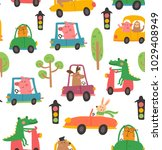 vector seamless pattern  funny... | Shutterstock .eps vector #1029408949