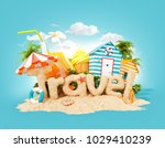 the word travel made of sand on ... | Shutterstock . vector #1029410239