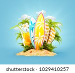 surf boards on paradise island... | Shutterstock . vector #1029410257