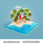 deck chairs under the beach... | Shutterstock . vector #1029410284