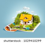 white house of dream with white ... | Shutterstock . vector #1029410299