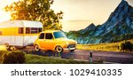 retro car with white trailer.... | Shutterstock . vector #1029410335