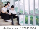 group of asian student in thai... | Shutterstock . vector #1029412564