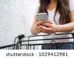 close up on asian woman hand... | Shutterstock . vector #1029412981