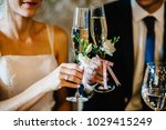 glass decorated with flowers... | Shutterstock . vector #1029415249