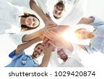 bottom view.a team of doctors... | Shutterstock . vector #1029420874