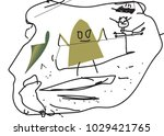 child's drawing. reduction of... | Shutterstock .eps vector #1029421765