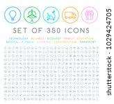 set of 350 modern thin stroke... | Shutterstock .eps vector #1029424705