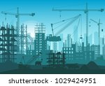 construction skyline under... | Shutterstock . vector #1029424951