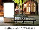 blank billboard panel at night | Shutterstock . vector #102942575