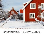 traditional red swedish wooden... | Shutterstock . vector #1029426871