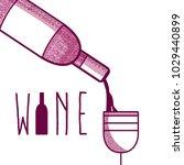 wine bottle serving cup | Shutterstock .eps vector #1029440899
