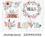 set of beautiful cute spring... | Shutterstock .eps vector #1029441934