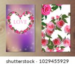 valentines day heart with rose... | Shutterstock .eps vector #1029455929