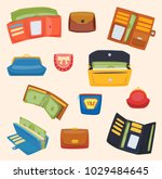 open purse leather wallet with... | Shutterstock .eps vector #1029484645