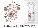 embroidery pastel trend floral... | Shutterstock .eps vector #1029492469