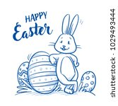 cute easter bunny with easter... | Shutterstock .eps vector #1029493444