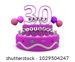 pink cake with happy birthday... | Shutterstock . vector #1029504247