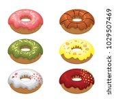 glazed colored donuts install... | Shutterstock .eps vector #1029507469