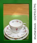 view of dainty vintage teacup... | Shutterstock . vector #1029515791