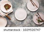 empty plate white linen napkin...   Shutterstock . vector #1029520747