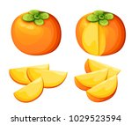 Persimmon With Leaves Whole An...