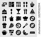 restaurant vector icon set.... | Shutterstock .eps vector #1029532594