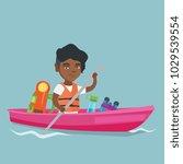 young african american traveler ... | Shutterstock .eps vector #1029539554