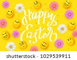 happy easter with faces eggs ... | Shutterstock .eps vector #1029539911