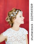 young beautiful bride with a...   Shutterstock . vector #1029545509