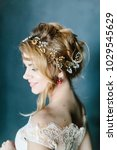young beautiful bride with a...   Shutterstock . vector #1029545629