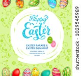 easter eggs on a multicolor... | Shutterstock .eps vector #1029545989