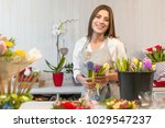 smiling woman florist small... | Shutterstock . vector #1029547237