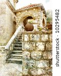 ancient mediterranean architecture - toned picture - stock photo