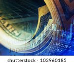 market data and rolled dollars. ... | Shutterstock . vector #102960185