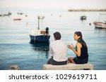 romantic couple having... | Shutterstock . vector #1029619711