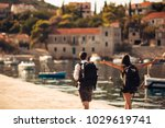young freelancing photographers ... | Shutterstock . vector #1029619741