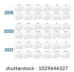 three years calendar  2019 ... | Shutterstock .eps vector #1029646327