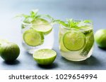 glass of iced lemonade soda ... | Shutterstock . vector #1029654994