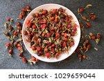 dried ripe rose hip fruit.... | Shutterstock . vector #1029659044