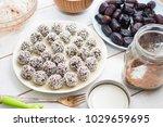 raw vegan sweet chocolate balls ...   Shutterstock . vector #1029659695