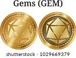 set of physical golden coin... | Shutterstock .eps vector #1029669379